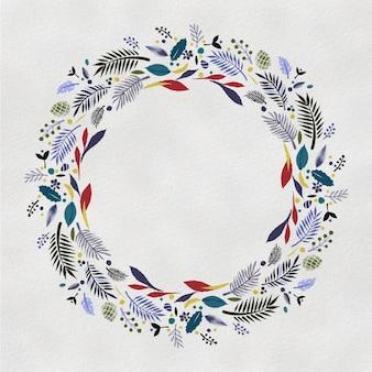 Corona dell'acquerello. cornice rotonda floreale dipinta a mano