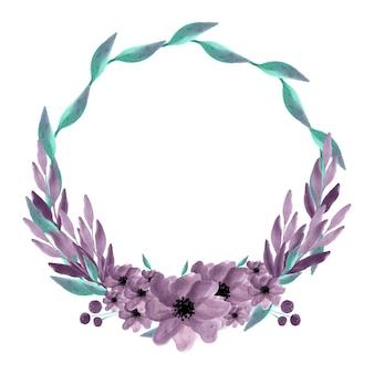 Illustrazione vettoriale isolato corona dell'acquerello. sfondo estivo. invito a nozze di primavera. arte botanica. ramo, foglie, fiori.