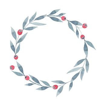 Corona dell'acquerello con foglie grigie e bacche rosse, illustrazione dipinta a mano