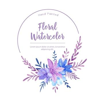 Corona dell'acquerello con fiori viola e blu