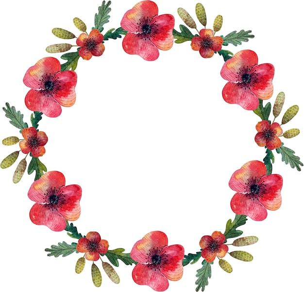 Corona dell'acquerello con fiori di papaveri selvatici ed erbe aromatiche