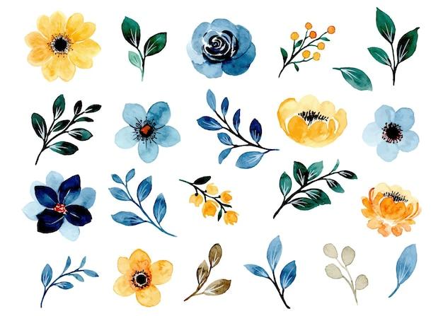 Collezione di elementi floreali gialli e blu dell'acquerello