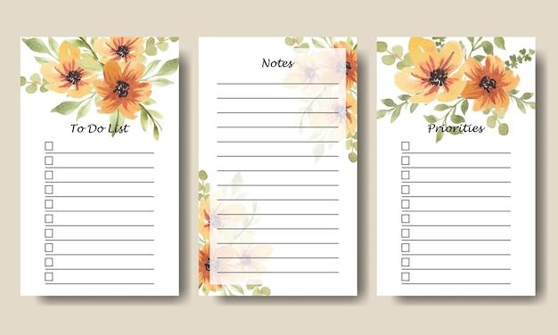 Elenco delle cose da fare con note floreali gialle dell'acquerello templatepolosan todolist 3