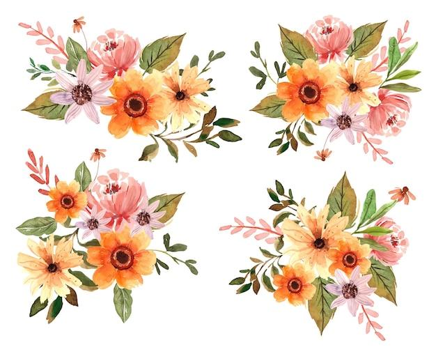 Peonie e fiori gialli dell'acquerello