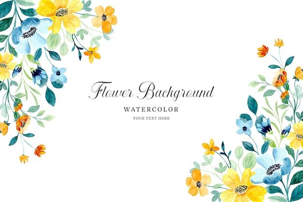 Sfondo floreale verde giallo acquerello