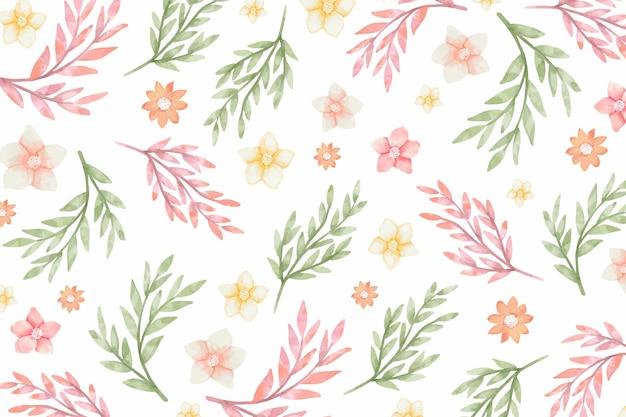 Sfondo acquerello con fiori e foglie