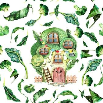 Modello senza cuciture della casa del fumetto dei broccoli dell'acquerello