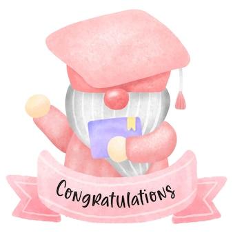 Graduazione di gnomo dell'acquerello che tiene il certificato e il diploma