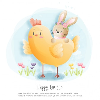 Carta di pasqua felice dell'acquerello con l'illustrazione del coniglio.