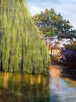 Resort dell'acquerello sull'illustrazione del paesaggio dell'acqua