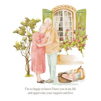 Coppia di anziani dell'acquerello innamorati che rimangono nel cortile
