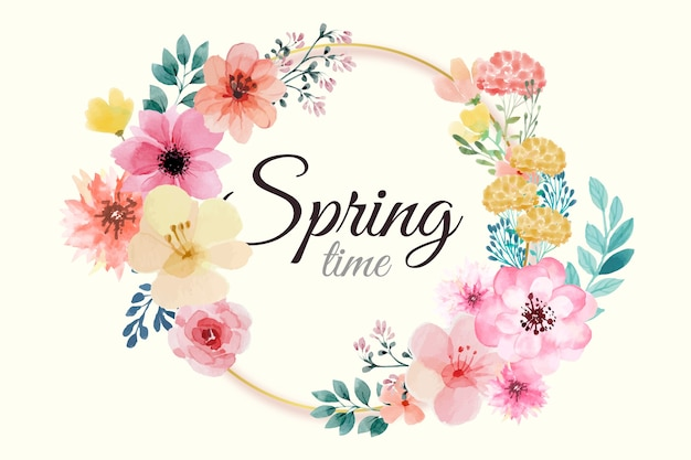 Cornice floreale primavera dell'acquerello con fiori rosa