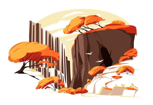 Cascata nell'illustrazione vettoriale di roccia autunnale paesaggio panoramico colorato piatto con acqua di fiume fal
