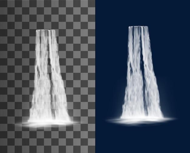 Cascata a cascata, caduta d'acqua realistica isolata su sfondo trasparente