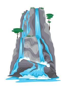 Cascata che cade dalla cima dell'illustrazione isolata montagna