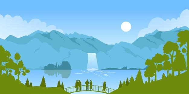 Paesaggio della valle del paesaggio della natura della montagna della cascata con l'acqua del fiume che cade nel lago