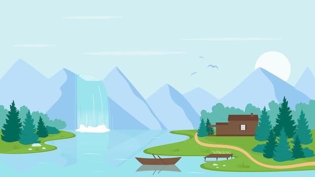 Illustrazione vettoriale di cascata fiume paesaggio. paesaggio della natura selvaggia della terra del fumetto con flusso di acqua che cade dalla montagna nel fiume o lago, barca e casa sulla riva.