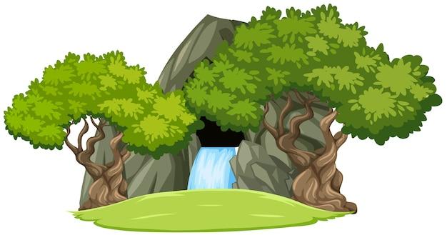 Grotta di pietra della cascata con alberi isolati su priorità bassa bianca