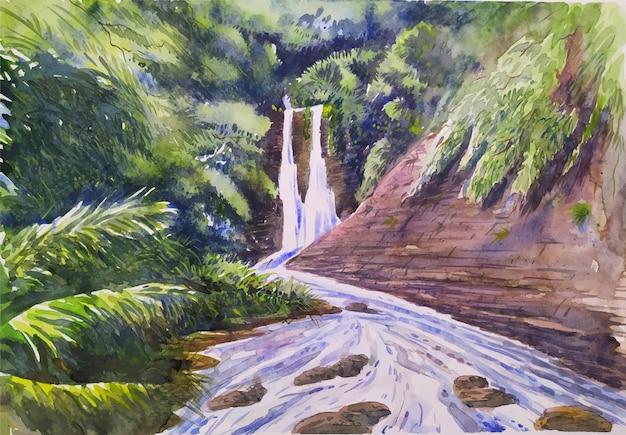 Cascate e alberi di montagna disegnati a mano pittura ad acquerello natura paesaggio illustrazione