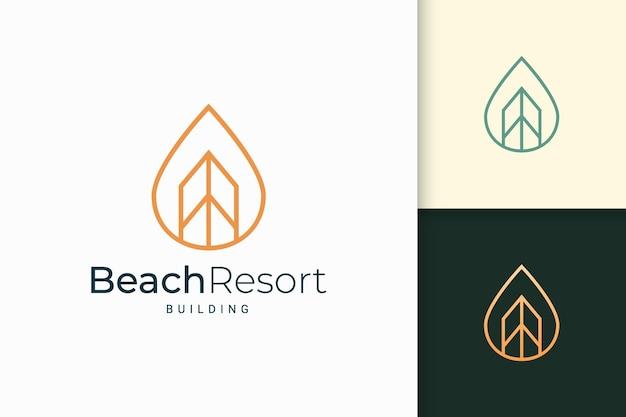 Appartamento fronte mare o logo della proprietà a forma di linea semplice