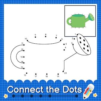 Annaffiatoio kids collega il foglio di lavoro dei punti per i bambini che contano i numeri da 1 a 20