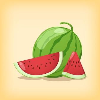 Anguria fetta di frutta fresca e intera con colori realistici