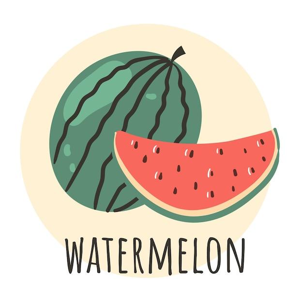 Illustrazione disegnata a mano di progettazione grafica della mezza fetta dell'anguria
