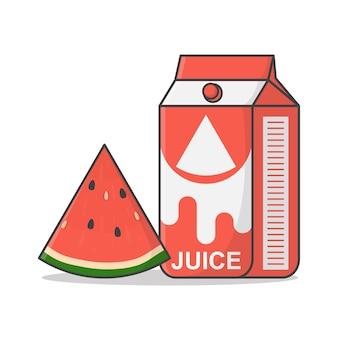 Scatola di succo di anguria con l'icona arancione illustrazione.