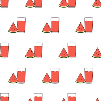 Succo di anguria seamless su uno sfondo bianco. illustrazione vettoriale di tema dell'anguria