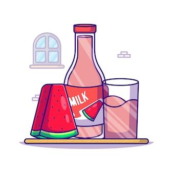 Illustrazione del fumetto di anguria e bottiglia di latte. concetto dell'icona di giornata mondiale del latte bianco isolato. stile cartone animato piatto