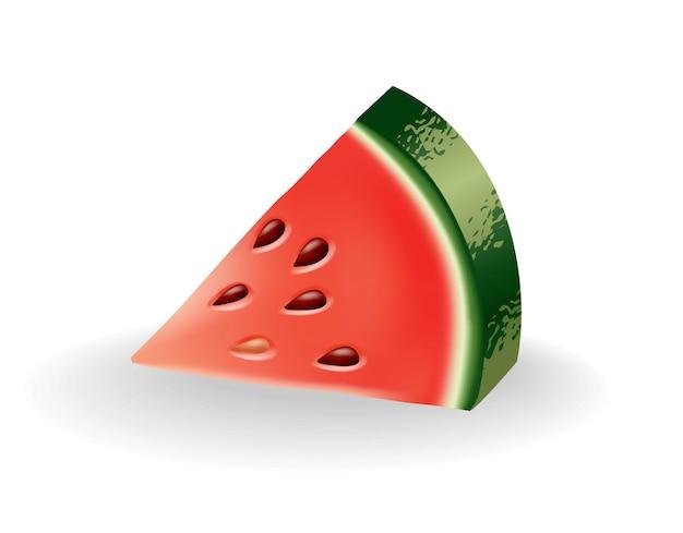 Alimento dolce naturale dell'anguria. icona di frutta rossa matura tagliata su fetta in stile cartone animato realistico 3d. bacca colorata fresca e succosa isolata su priorità bassa bianca.