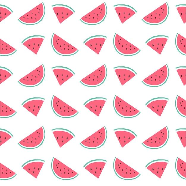 Disegno di sfondo del modello senza cuciture di anguria, modello di anguria senza cuciture carino, sfondo estivo