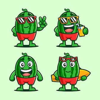 Set di personaggi dei cartoni animati estivi di anguria