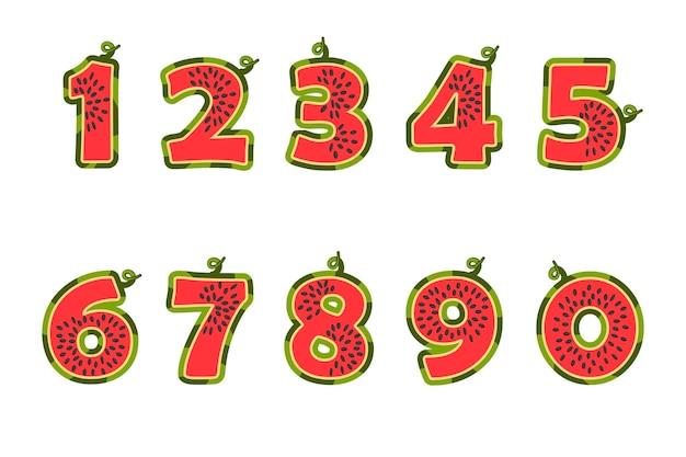 Numeri succosi dei cartoni animati di angurie per l'interfaccia utente della scuola dei bambini. illustrazione vettoriale di figure rosse di frutta per una gui.