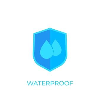 Icona impermeabile e resistente all'acqua su bianco