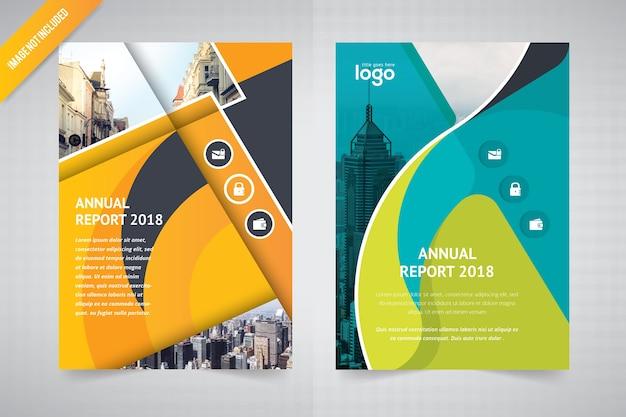Wave abstract flyer design per relazione annuale