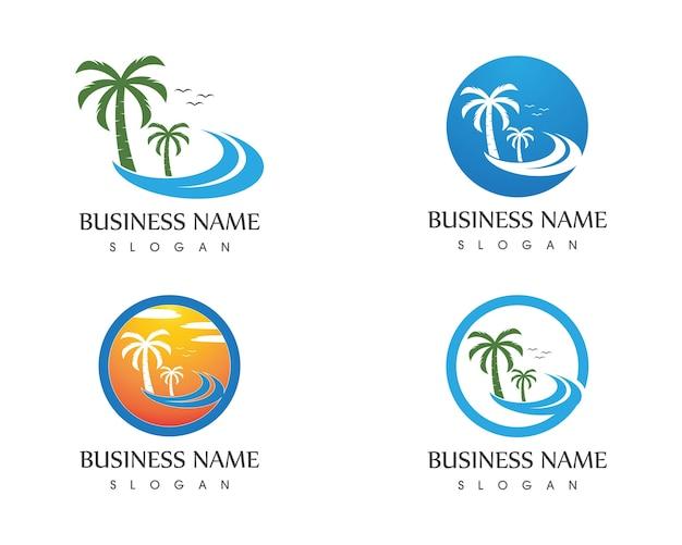 Modello di vettore di logo di vacanze spiaggia onda