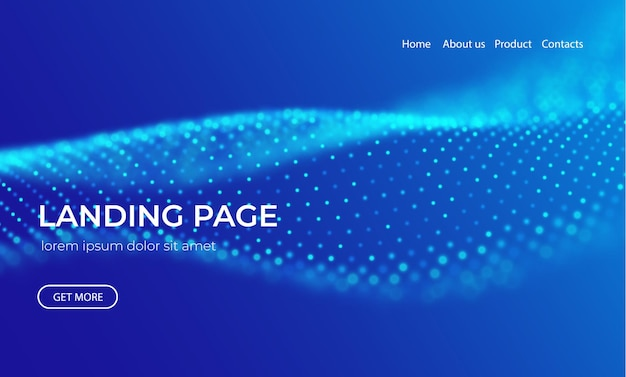 Onda di particelle blu fondo astratto di tecnologia della pagina di destinazione