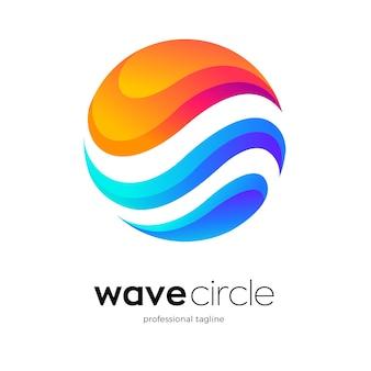 Design del logo del cerchio dell'onda
