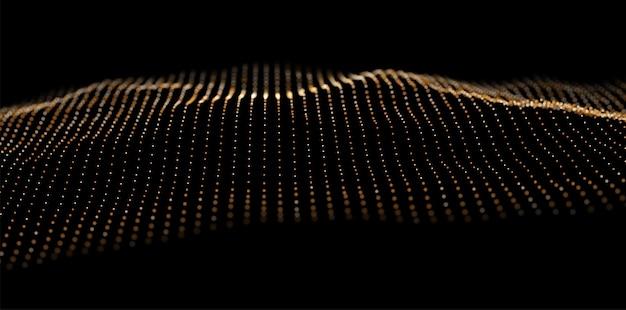 Onda di particelle d'oro la struttura dei dati digitali è costituita da elementi di punti illustrazione vettoriale futura