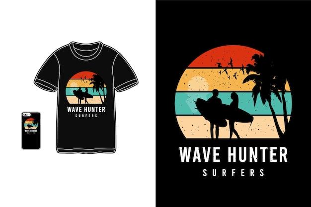 Surfisti cacciatori di onde, tipografia mockup di merchandise di t-shirt