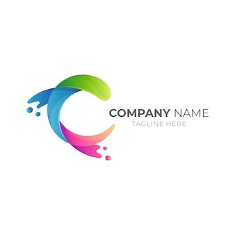 Concetto di logo della lettera c dell'onda