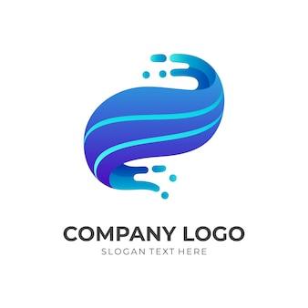 Design del logo wave con stile di colore blu 3d