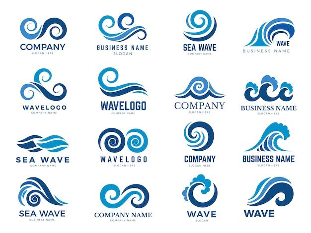 Logo dell'onda. simboli grafici dell'oceano o dell'acqua di mare che scorre stilizzati per il vettore di identità aziendale. illustrazione logo onda d'acqua per azienda emblema aziendale