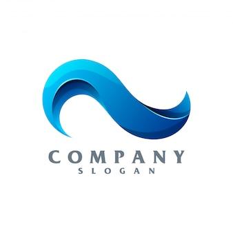 Wave logo vettoriale pronto per l'uso