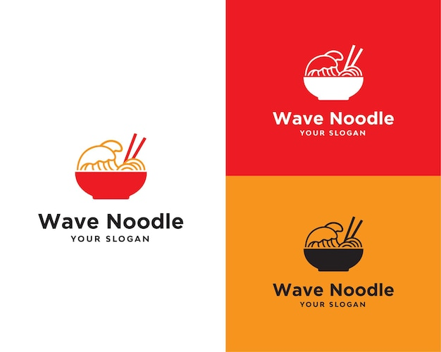 Logo del cibo del ristorante di noodle d'onda
