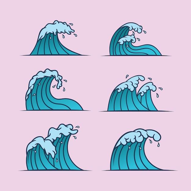 Set di onde in stile giapponese