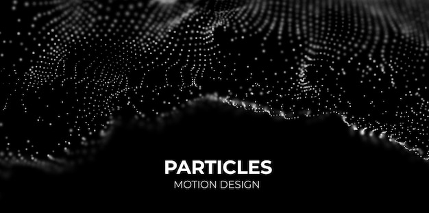 Onda di particelle bianche sfondo di flusso tecnologico astratto illustrazione vettoriale futura