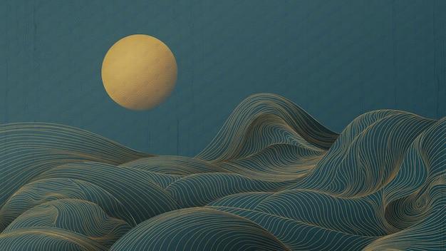 Onde e montagne di linee dorate su uno sfondo turchese con motivo lunare per l'uso in striscioni o tessuti.
