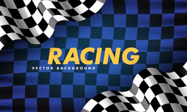 Sventolando la bandiera a scacchi lungo i bordi su uno sfondo nero e blu
